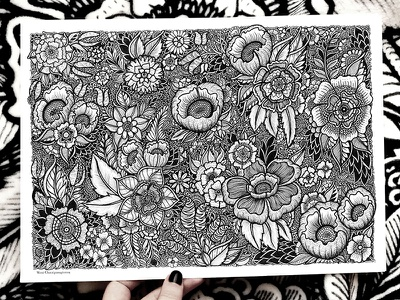Floral Pattern floral drawing flowers botanical pen art black and white handmade nature product design art illustration