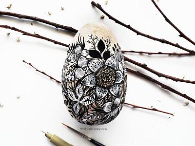 Floral Egg easter drawing egg floral flowers pen art handmade nature botanical design art illustration