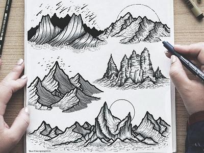 Mountains handmade black and white pen art design graphic desgin logo landscape scenery mountains art illustration