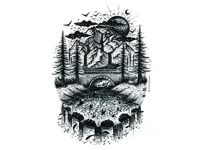Landscape handmade black and white pen art design graphic desgin logo landscape scenery mountains art illustration trees