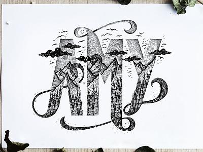 Custom Name Illustration handmade trees mountains landscape drawing logo graphicdesign illustation handlettering typography