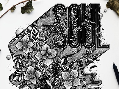Soul type logo handmade lineart galaxy space birds flowers botanical nature lettering handlettering typography graphic  design illustration