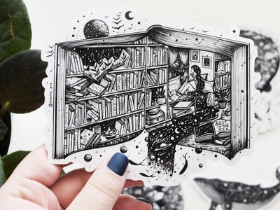 Life in a book || Sticker surreal art river stars planet moon art woman pen and ink drawing book illistration sticker