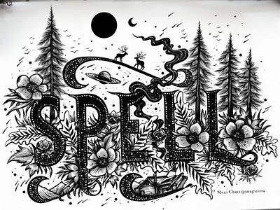 Spell handmade stars space scenery deer flowers trees drawing logo spell art illustration