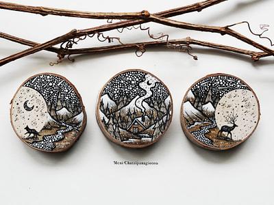Lunar Cycle cabin animals fox deer handmade drawing nature camping illustration art wood
