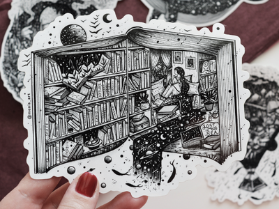 Books are my home! black and white lineart life surreal book sketch drawing sticker art illustration