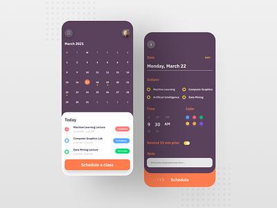 Class Scheduling Mobile App ui ux mobile app minimal design app design app