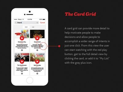 Netflix Search Card Grid View