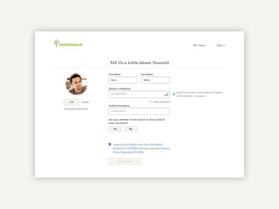 FamilySearch Simplified Registration form fields forms account creation registration