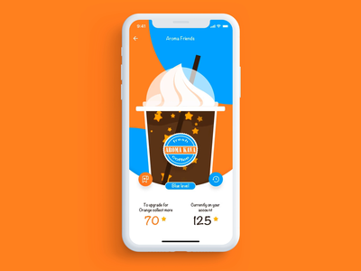 Loyalty program discount bonus stars coffee cup orange blue brand app ui animation