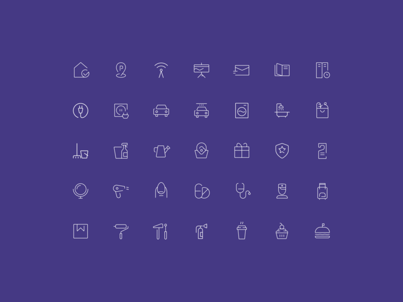 Everestate. Icons outline details stroke pictogram presentation icon design vector identity set branding app icon ui mobile iconography home icons