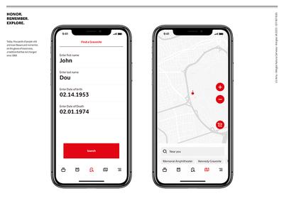 Arlington National Cemetery ux uiux ui presentation mobile iphonex designconcept creative concept cemetery app america
