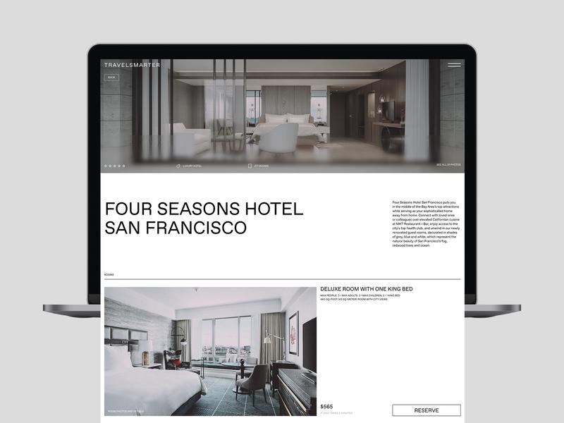 TravelSmarter. Hotel Сard website web designconcept presentation grid hotel travel type concept ui