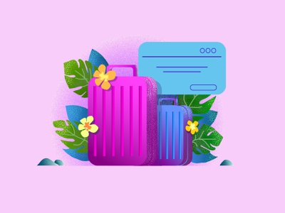 suitcase illustration purple relaxing plant suitcase illustrator design