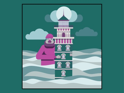 lighthouse tower sea adobe illustrator design characterdesign lighthouse