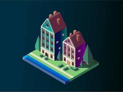 isometric isometric illustration haus courtyard adobe illustrator design city isometric home