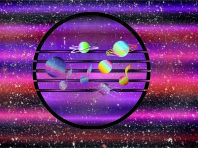 Music is a space of feelings Part 2. Circle. illustraion purple old planet space note music adobe illustrator adobe photoshop