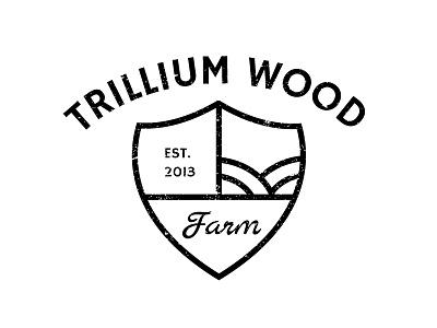 Trillium Wood Farm Logo farm logo industrial farming branding mark shovel badge shield hand lettering farm logo farm branding