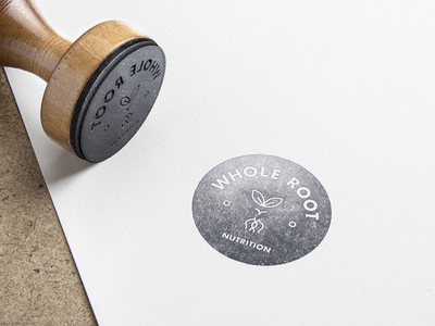 Whole Root Nutrition Logo plant root nutrition stamp circle logotype type brand mark branding vector logo
