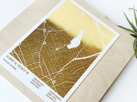 Gold Foil Coffee Map