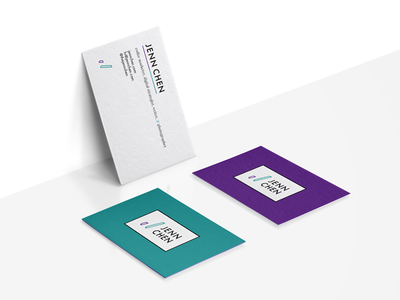 Jenn Chen Branding typography type purple teal business card symbol identity icon color mark logo branding