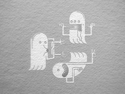Paper Poltergeists ghost paper textures vector character