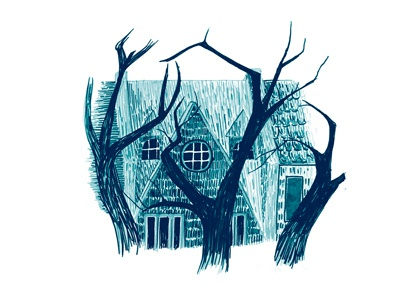 Row House illustration spooky house dc neighbor drawing sketch sharpie marker
