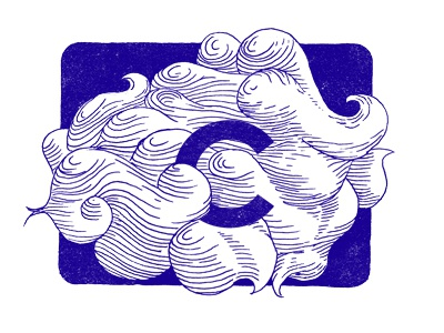 C is for Clouds cloud drawing graphic design icon illustration ink letter logo print sketch type typography