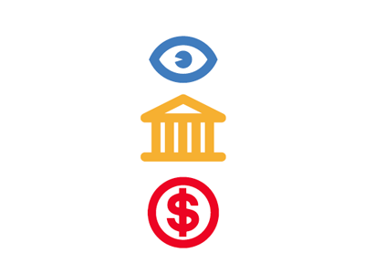 Quick icons visibility government money icons vector influence