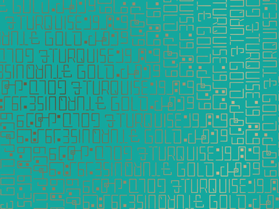 Turquoise & Gold. pattern gold turquoise script kufi font typeface custom calligraphy arabic