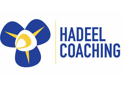Hadeel Coaching venn diagram flower coaching blue and yellow fusion arabic logo arabic alphabet logo