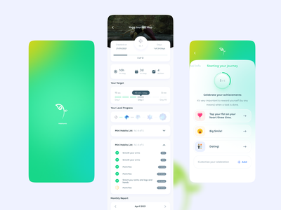 Habitomic new ux ui green app icon setup wizard sketch figma mood tracker logo splash light mode dark mode