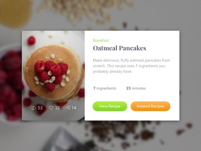 Recipe Card raspeberries oats card recipe