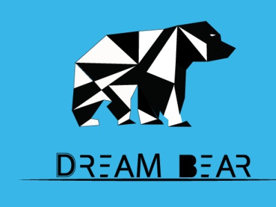 Dream Bear polygonal vector graphic design flat minimal logo