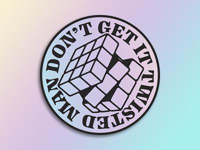 Rubik's Cube holographic rubiks cube sticker sticker mule typography illustration