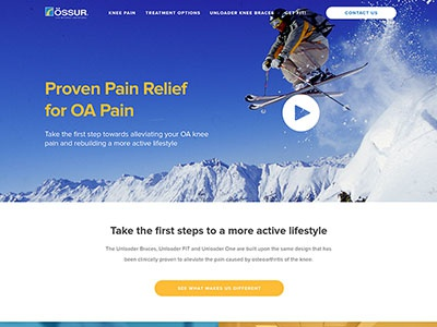 Ossur Homepage Redesign landing page graphic design layout responsive bootstrap design homepage page web website