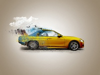 Car Advertisement Poster Manipulation Concept