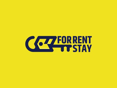 For Rent Stay Logo Desgin home services homestay service rent rentals logotype key home flat room hanging hangtag rental logo illustrator illustration branding