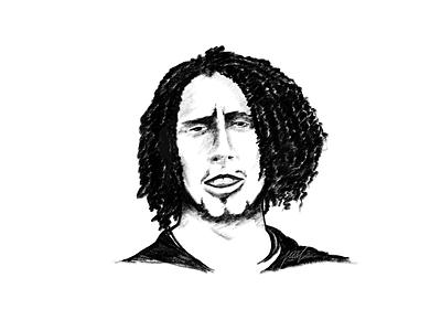 Zack De La Rocha sketching painting digital monochrome pencil portrait illustration drawing sketch