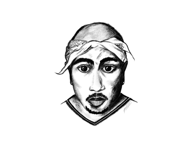 Tupac Shakur powerscripts sketch drawing illustration portrait pencil monochrome digital painting sketching