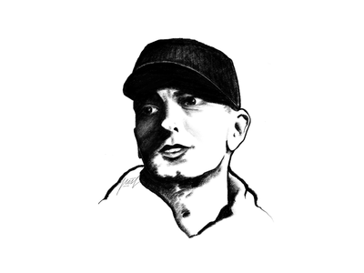 Eminem sketching painting digital monochrome pencil portrait illustration drawing sketch powerscripts