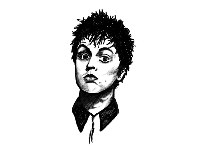 Billie Joe sketching painting digital monochrome pencil portrait illustration drawing sketch powerscripts