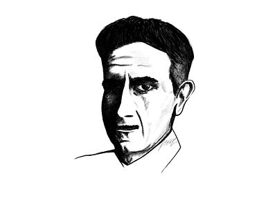 George Orwell sketching painting digital monochrome pencil portrait illustration drawing sketch powerscripts