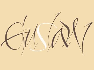 Gustaw typography typografia script powerscripts logotype logo lettering kaligrafia handwritten handwriting freehand calligraphy