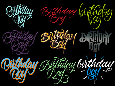 Birthday Boy typography typografia script powerscripts logotype logo lettering kaligrafia handwritten handwriting freehand calligraphy