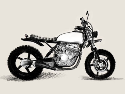 Honda CBF250 Scrambler motorcycle art drawing powerscripts motoart scrambler motorcycle illustration blueprint szkic draft concept sketch