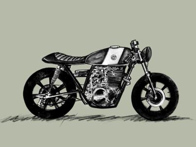Yamaha XS400 Cafe Racer custom art custom motorcycle cafe racer caferacer motorcycle art drawing rysunek szkic draft sketch illustration powerscripts