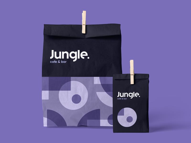 Jungle Cafe & Bar Paper Bag cafe logo typogaphy logotype logo branding brand identity jungle paper bag pattern abstract