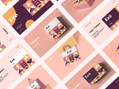 Ero Cake Co, Branding abstract modern brand identity pattern packaging box typography logo branding design