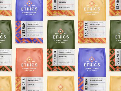 Ethics Gourmet Coffee - Packaging modern pattern typography branding logo bag coffee brand design brand identity packaging